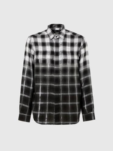 Dip-dye shirt in checked lyocell