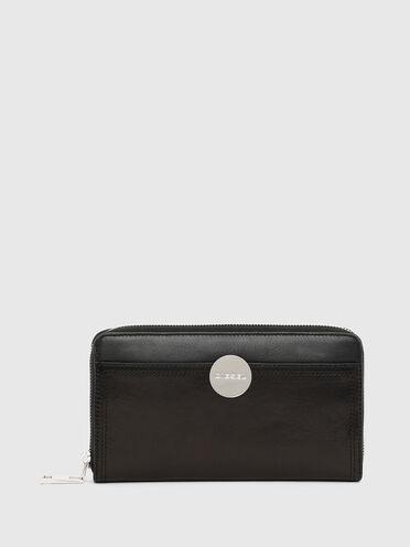 Zip-around wallet with logo plaque