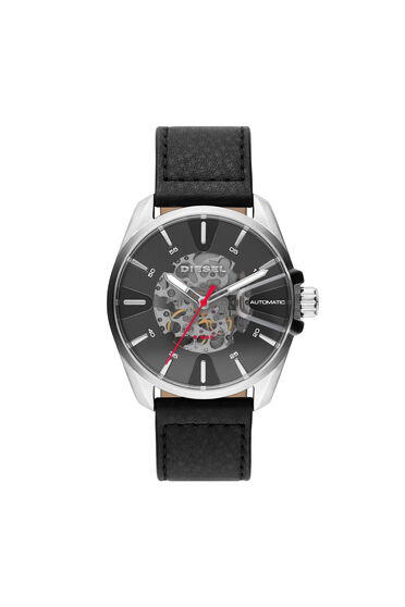 MS9 automatic three-hand black leather watch