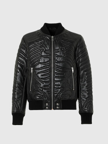 Padded bomber jacket in quilted leather