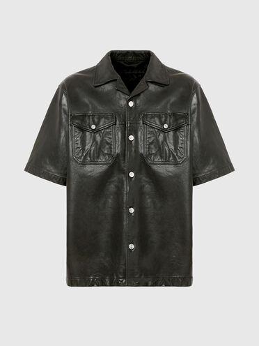Short-sleeve leather shirt