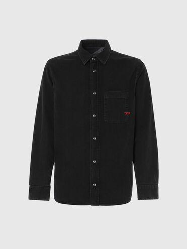 Reversible shirt in stonewashed denim