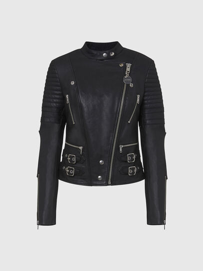 Diesel - L-IGE-NEW, Black - Leather jackets - Image 1