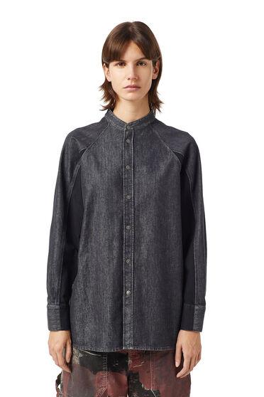 Shirt in two-tone denim