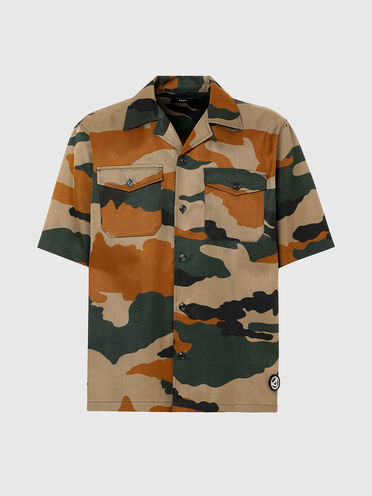 Camp-collar shirt with camo print