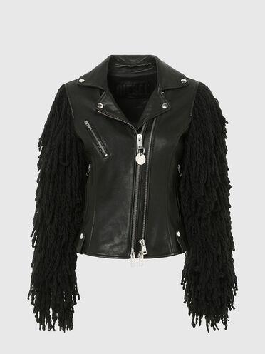 Padded biker jacket with fringed sleeves
