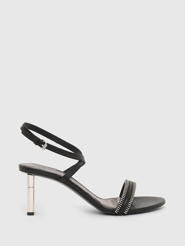 Mid-heel sandals in leather