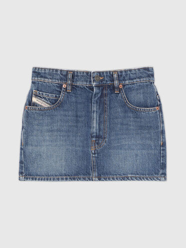Mini skirt in stonewashed denim
