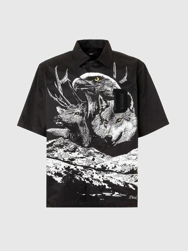 Camp-collar shirt with photo print