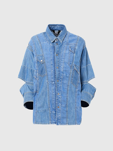 Patchwork shirt in denim and Tencel