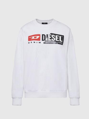 Cotton sweatshirt with spliced logo