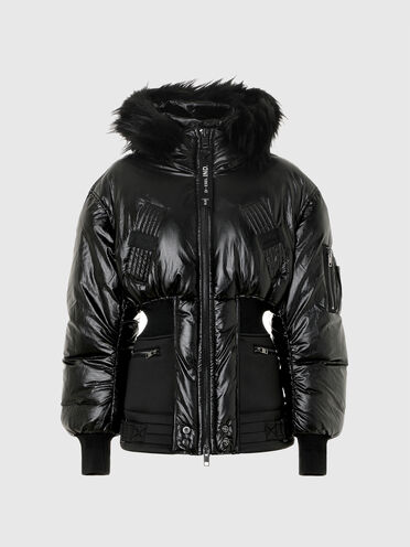 Padded hooded jacket with ribbed waist