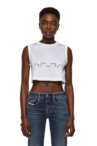 Green Label cropped tank with face print
