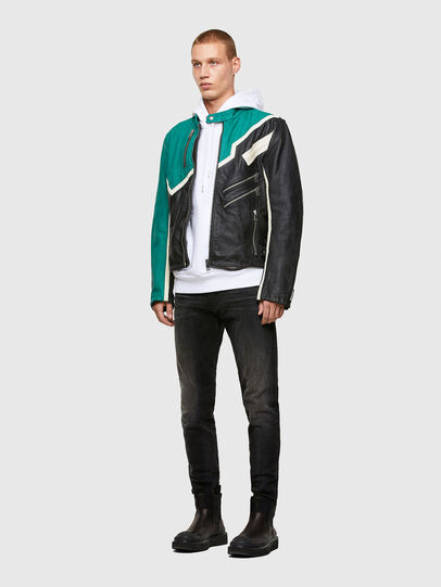 Diesel - L-PARKS, Black/Green - Leather jackets - Image 7