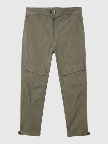 Ripstop pants with stackable patches