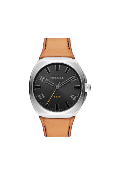Stigg three-hand brown leather watch