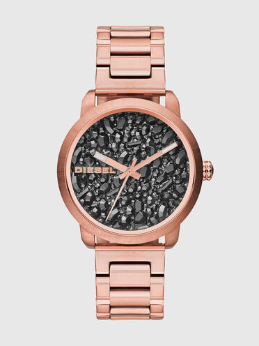 Watch with gunmetal-tone stones dial