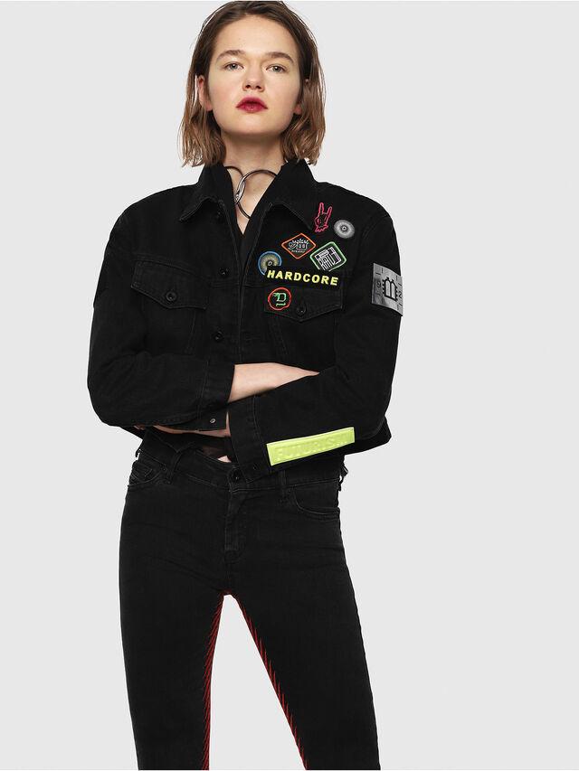 Diesel - DE-POPPY-E, Black Jeans - Denim Jackets - Image 1
