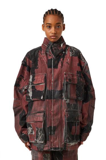 Field jacket in camouflage denim