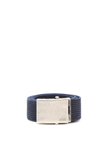 Canvas belt with aged metal hardware