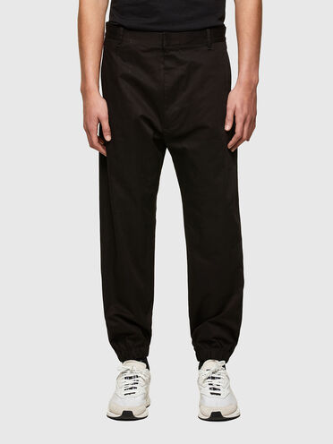 Gabardine pants with ribbed inserts