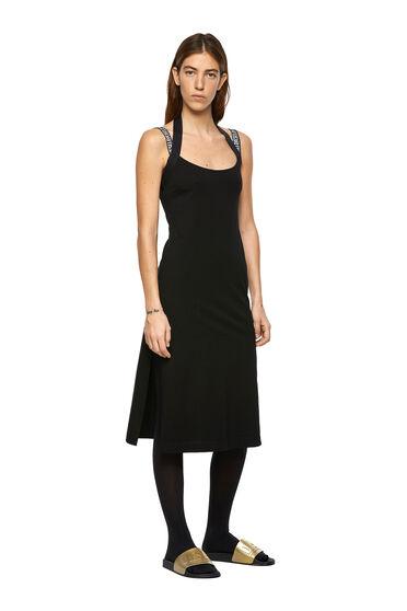 Halterneck dress with logo straps