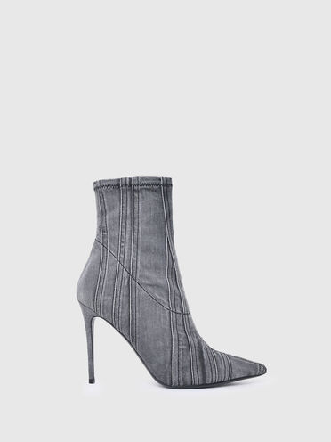 High-heel ankle boots in denim