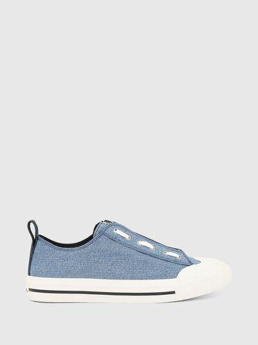 Low-top sneakers in tonal denim
