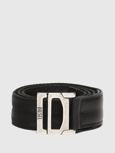 Tape belt with leather trims