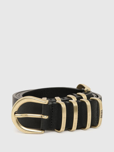 Leather belt with brass buckles