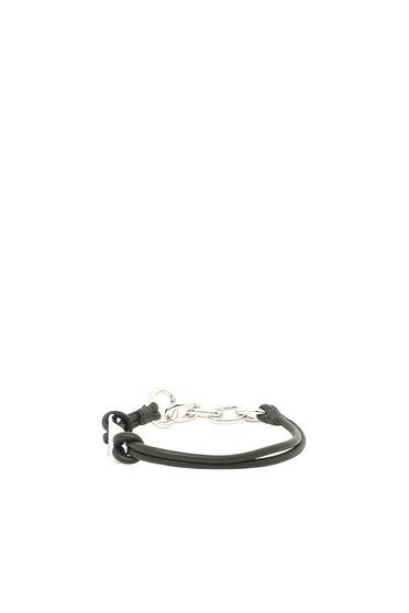 Leather bracelet with logo plaque