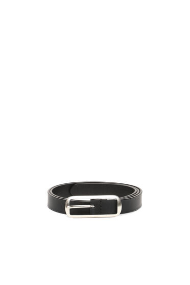 Leather belt with long buckle