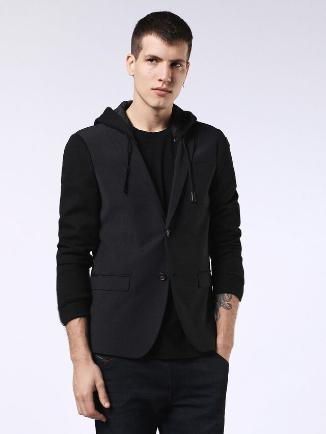 Diesel - DVL-BLAZER-HOOD-RE, Black - Jackets - Image 1