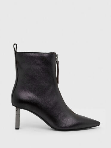 Mid-heel ankle boots in iridescent leather