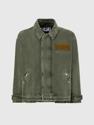 Garment-dyed jacket in bull denim