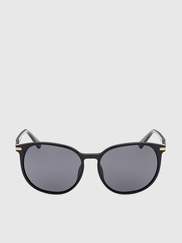 Round sunglasses on a combo construction