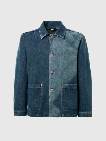 Denim jacket with sun-faded effect