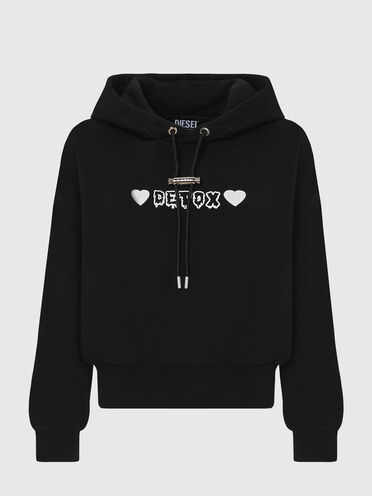 Hoodie with Detox print and embroidery