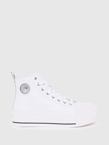 High-top sneakers with flatform sole