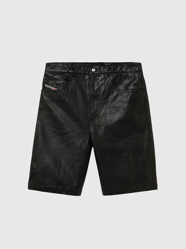 Five-pocket leather shorts