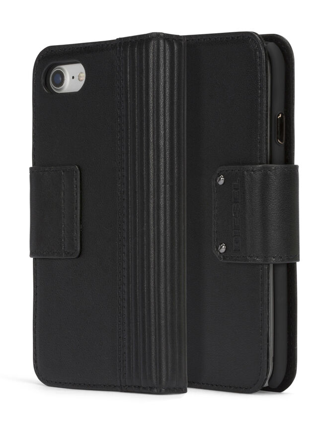 Diesel - BLACK LINED LEATHER IPHONE 8 PLUS/7 PLUS FOLIO, Black - Flip covers - Image 3