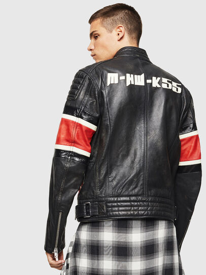 Diesel - L-ROURKE, Black/Red - Leather jackets - Image 2