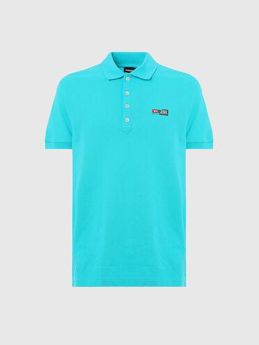 Pique polo shirt with double logo