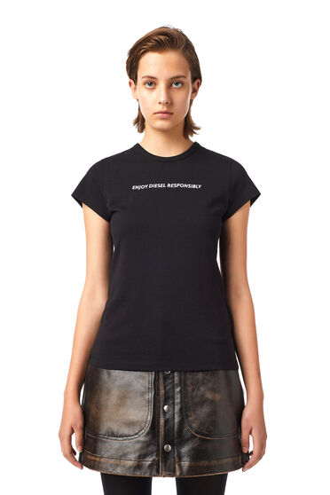 Green Label slogan-embroidered T-shirt