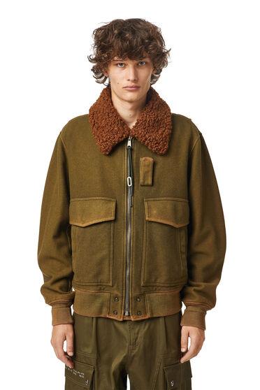 Aviator jacket in treated wool felt