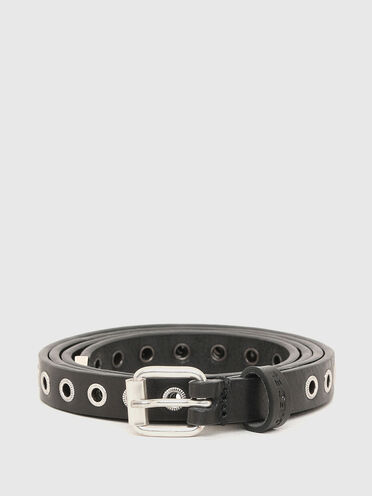 Extra long skinny belt with rivets