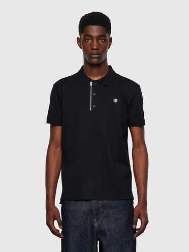 Green Label polo shirt with zip and Mohawk patch
