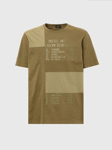 Patchwork T-shirt with Schedule print