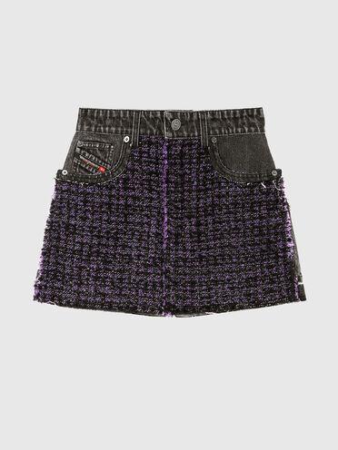 Mini skirt in denim and bouclé wool