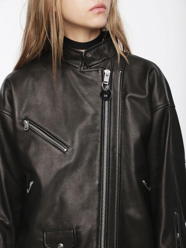 Diesel - L-DROP, Black Leather - Leather jackets - Image 3
